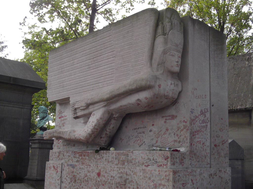 Oscar Wilde'ın mezarı. Sanıyorum öpücüklerden arındırıldı.